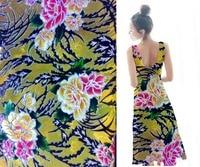 Silk velvet Fabric Handcut Cotton Fabric Velvet Satin Materials Jacquard Brocade yellow flowers printed reversible sequin fabric