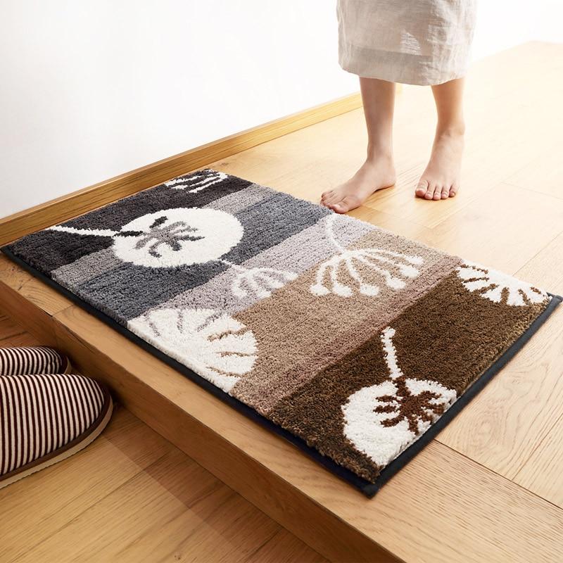 Custom foot bath mat in front of the bathroom door foyer entrance carpet absorbent antiskid anti-dust mat