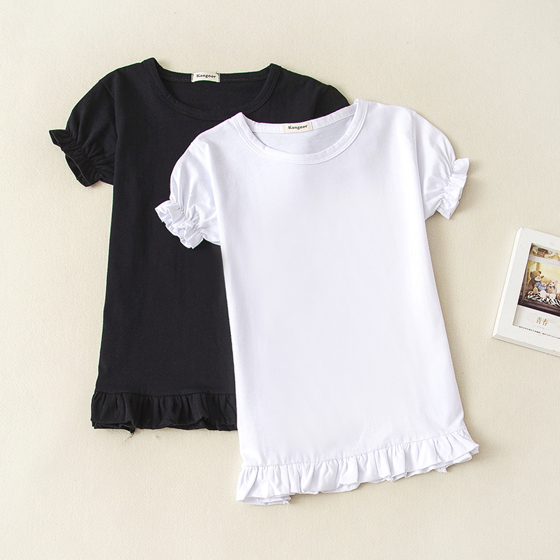 Wholesale 5pcs/Lot Kids Casual Short Sleeve T Shirt 2018 Summer Baby Girls Ruffle Top Tees Solid Color Children Clothes 0-12T image