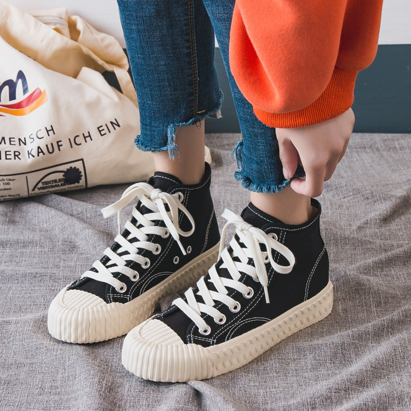 Fashion Woman Shoes New Fashion Women Trendy Canvas Shoes Casual Flats Breathable Solid High Top Women Casual Shoes Sneakers