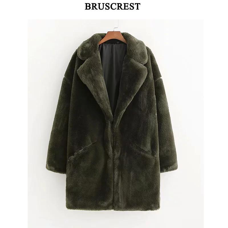 Hiver vert manteau de fourrure femmes Chaud long manteau Streetwear manches longues épais en peluche manteau Outwear dame de fourrure de lapin manteau