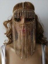 חדש סגנון H768 נשים רוק לרתום זהב צבע שרשרות ראש תכשיטי ייחודי עיצוב שכבות פנים מסכת שרשרות תכשיטי 3 צבעים