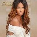 1B30 ombre llena del cordón del pelo virginal brasileño pelucas de cabello humano largo ondulado dos tonos de color sin cola peluca del frente del cordón con babyhair alrededor