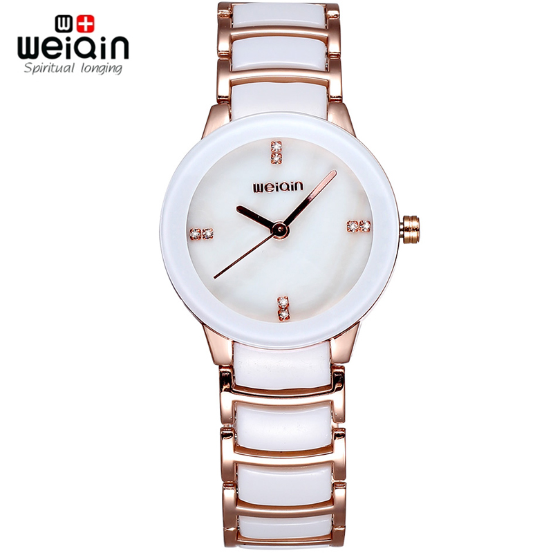 WEIQIN Ceramic Band Dress Watches Women Luxury Crystal Rhinestone Rose Gold Brand Watch Lady Fashion Wristwatch Relogio Feminino new quartz watch weiqin band fashion white ceramic rhinestone watches women analog clock ladies watch reloje relogios feminino