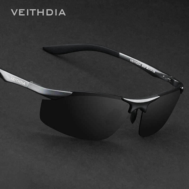 VEITHDIA Brand Designer Rimless Mens Aluminium Solglasögon Polariserade Lins Man Sun Glasses Oculos de Sol Masculino For Men 6529