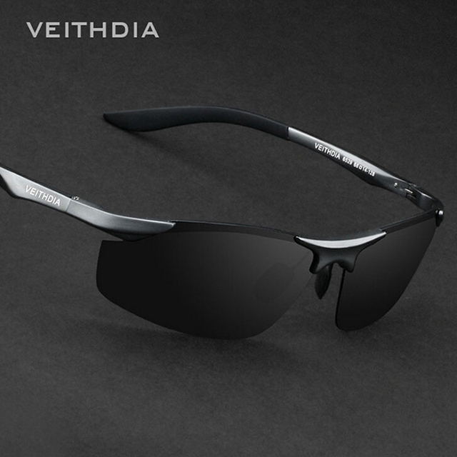 df741896f VEITHDIA Marca Designer Dos Homens Sem Aro de Alumínio Lente Polarizada  Óculos De Sol Masculino óculos