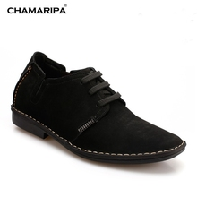 CHAMARIPA Increase Height 6.5cm/2.56 inch Stylish Daily Shoes Elevator Shoe Gentlemen Black Casual Mens High Heel Shoes Taller