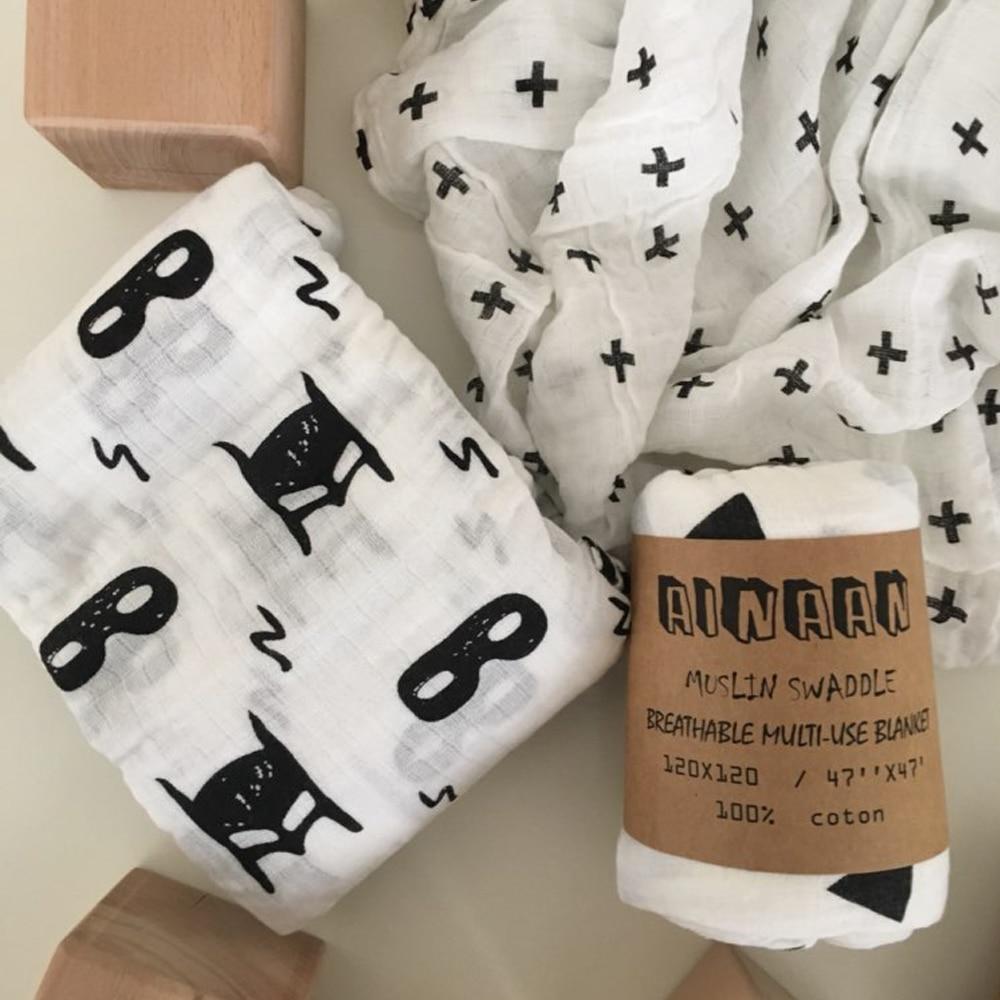 Nouveau-né Muslin Swaddle Qualité Bébé Multi-utiliser Coton Couverture Infantile XO/Croix Wrap