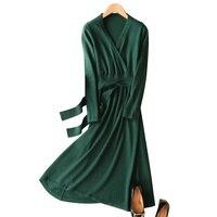 2018 Spring New Chinese Style Knitted Leisure Dress Full Sleeve Belt Wool Knitted Women Kimono Knitting Sweater Dress Vintage
