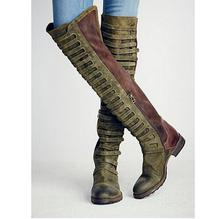 Black Forest Over The Knee Boot Gorgeous Distressed Suede Leather Chaussures Hiver Femme Over-The-Knee Caged Straps Thigh Boots