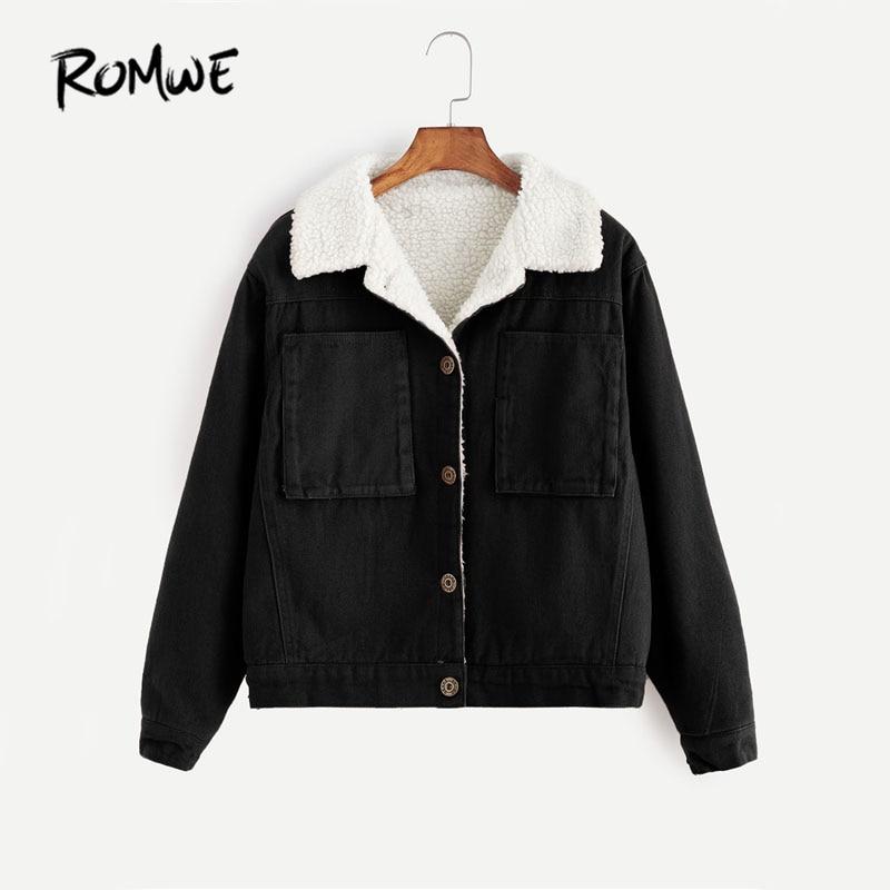 ROMWE Contrast Sherpa Lined Short Jacket Black Single Breasted Casual Jacket 2019 Women Autumn Pocket Lapel Jacket Куртка