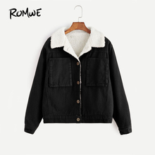 ROMWE Contrast Sherpa Lined Short Jacket Black Single Breasted Casual Jacket 2017 Women Autumn Pocket Lapel Jacket