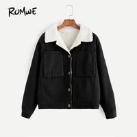 ROMWE Contrast Sherpa Lined Short Jacket Black Single Breasted Casual Jacket 2019 Women Autumn Pocket Lapel Jacket