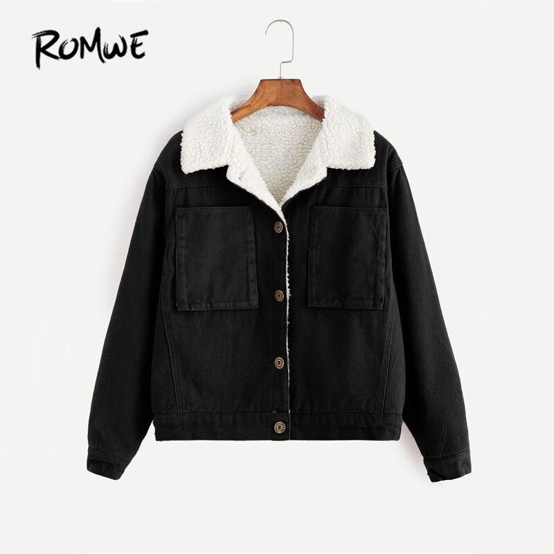ROMWE Contrast Sherpa Lined Short Jacket Black Single Breasted Casual Jacket 2017 Woman Autumn Pocket Lapel Jacket