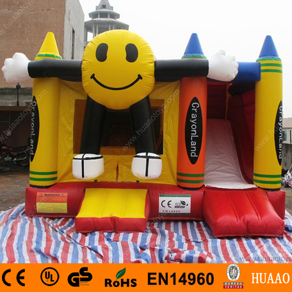 Commercial Smiling Face Castle Inflatable with Slide and CE BlowerCommercial Smiling Face Castle Inflatable with Slide and CE Blower