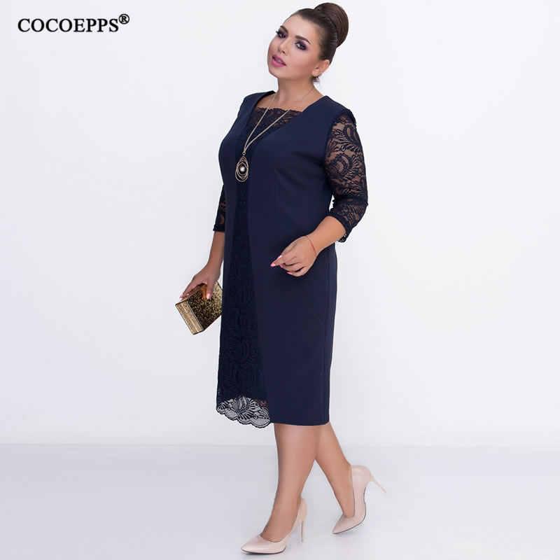 0144bb9e69 2019 Autumn Big Size Women Dress Lace Patchwork Plus Size Winter Dress  Bodycon Elegant Office Party Dress Work Vestidos 5XL 6XL