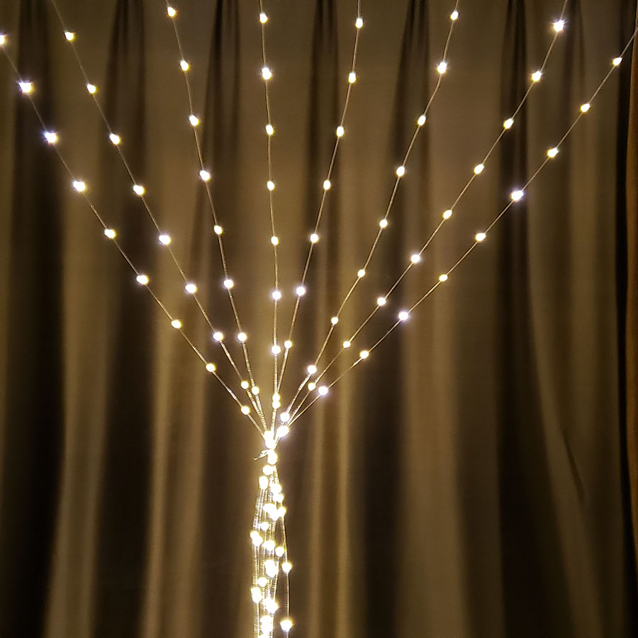 DC24V Copper Wire 3x1/3x2/3x3m LED Curtain Icicle String Light Christmas Holiday Garland Party Wedding Stage Decorative