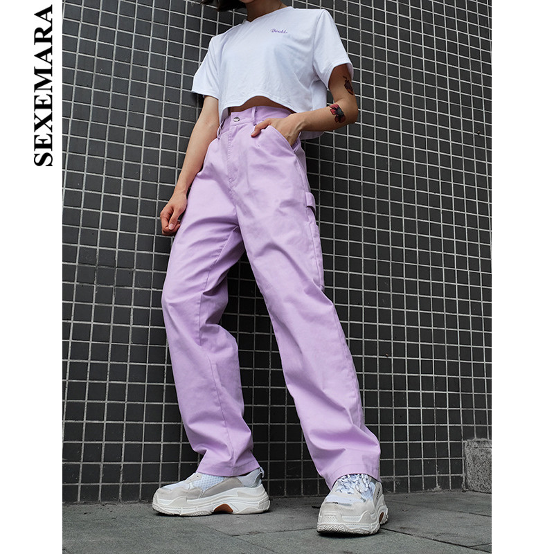 BOOFEENAA Street Fashion Purple Cargo Pants Women's Belt Side Pocket High Waist Casual Loose Trousers 100% Cotton C84-AH25