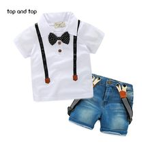 e29e14b7556b6d Retail Gratis verzending nieuwe kinderkleding jongens zomer casual dress  shirt + jeans twee sets van suits