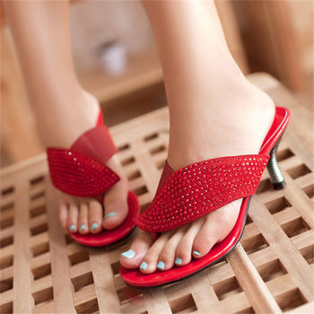 2019 Cow Leather Sandals Women's Stiletto High Heel Roman Gladiator Sandals Open Toe Thong Slippers Wedding Party Pumps Shoes