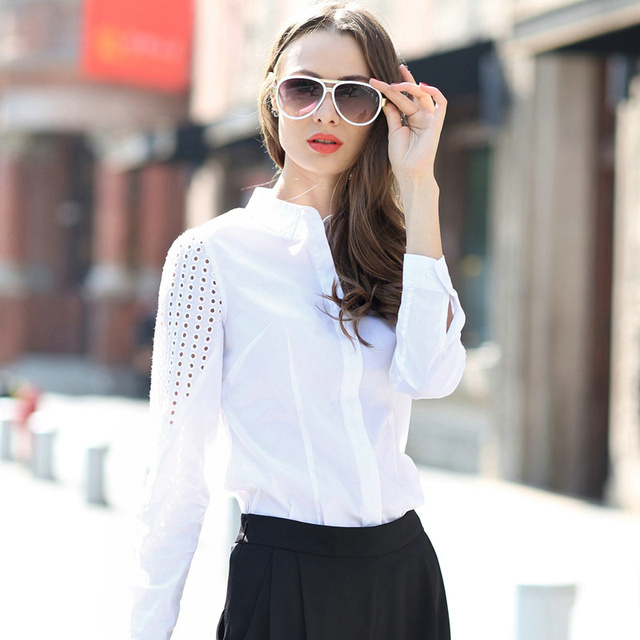 Veri Gude White Blouse Women Slim Fit Hollow Out  Long Sleeve Shirt Fashion Tops