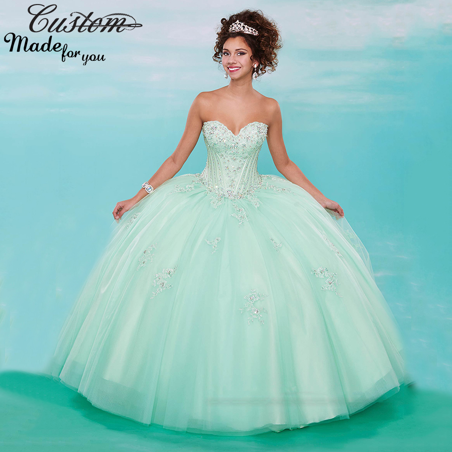 2016 Plus Size Masquerade Ball Gowns Mint Green Quinceanera Dresses ...