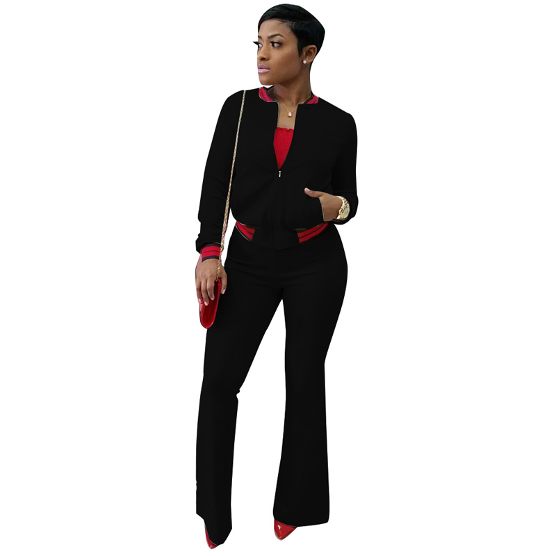 Sexy 2 Piece Set Women 2018 Striped Patchwork Long Sleeve Crop Tops+Skinny Pants Sweat Suits Two Piece Casual Tracksuit ...