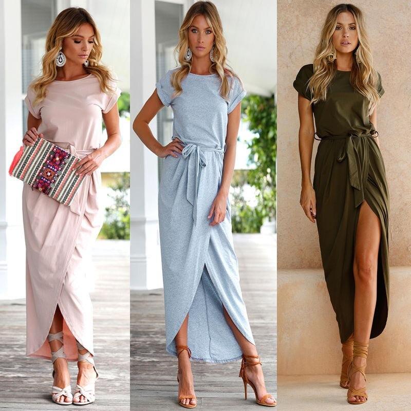 Mujeres vestidos Boho Long Maxi vestido de fiesta de noche Beach Dresses Sundress vestidos de noche partido AU.9