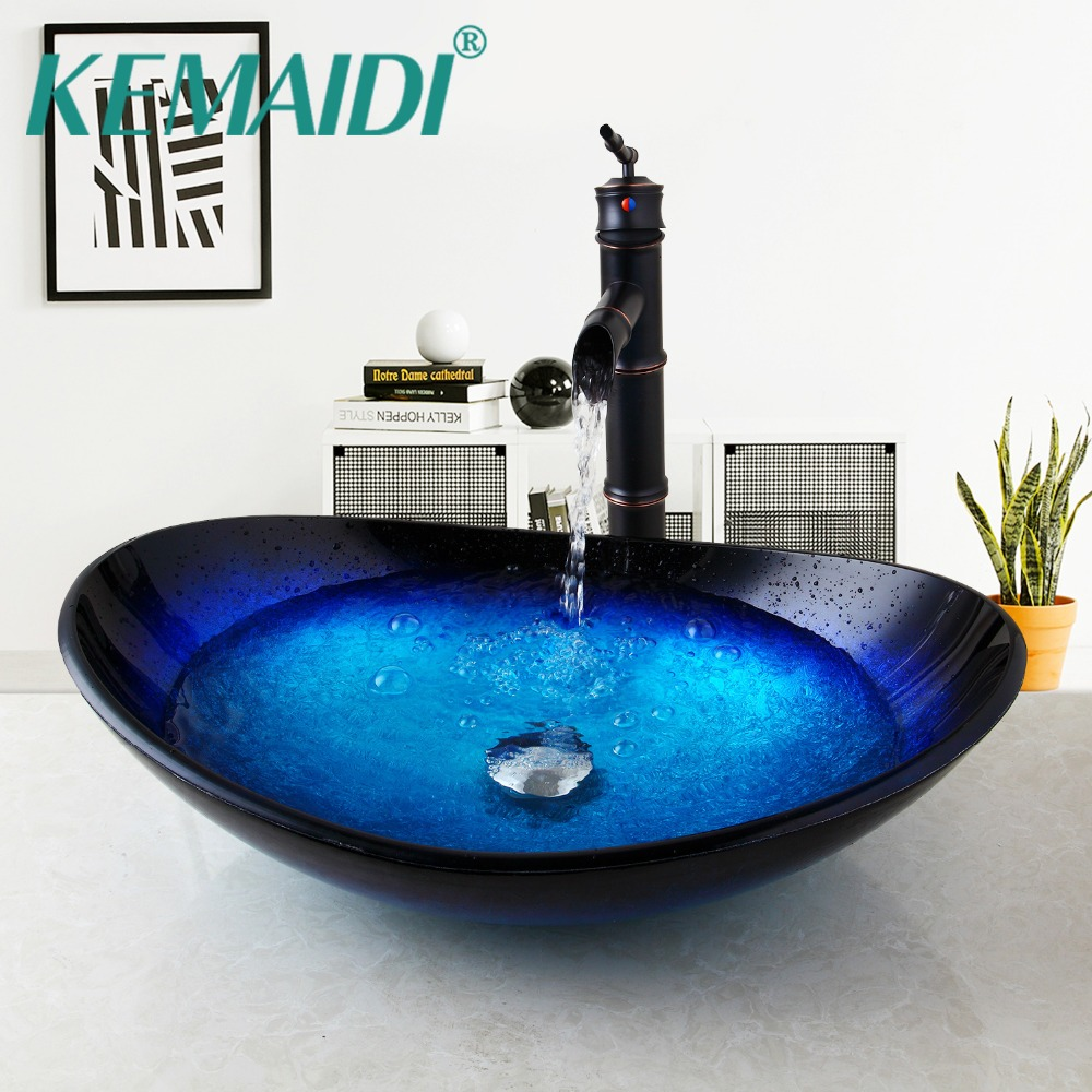 KEMAIDI US Comporary Bathroom Basin Tempered Glass Mixer ORB Faucet Waterfall Wash Basin With Pop Up Drain SetKEMAIDI US Comporary Bathroom Basin Tempered Glass Mixer ORB Faucet Waterfall Wash Basin With Pop Up Drain Set