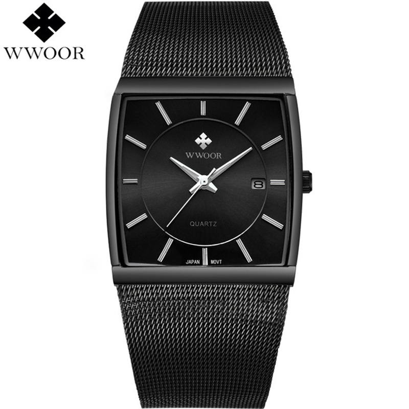все цены на WWOOR Brand Luxury Men Watch Waterproof Square Date Stainless Steel Watches Men Quartz Sport Wrist Watch Male Black Analog Clock