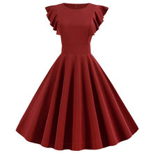 2019 Women Vintage Summer Dress 50s 60s Solid Color Elegant Petal Sleeve Party Dresses Robe Femme Plus Size Casual Midi Vestidos(China)