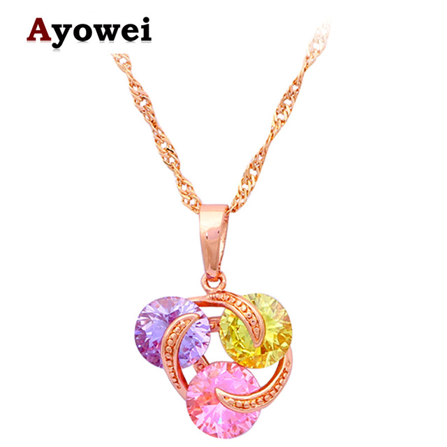 designer for lovers real rose gold tone shining crystal necklaces