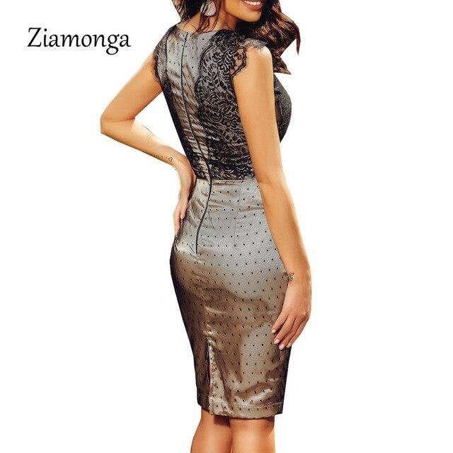 Ziamonga New Bandage Dress Sleeveless Knee Length Pencil Bodycon Lady Work Office Lace Dresses Vestido De Renda Autumn Dress 1
