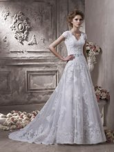 $10 off per $100 order 16-1 Fashon Bow High Neckline Zipper A-line Beadeds Lace Wedding Dresses