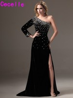 2017 New Sexy Long Black One Shoulder Evening Dresses Gowns With Slit Long Sleeves Crystals Elegant Women Formal Evening Wear Re