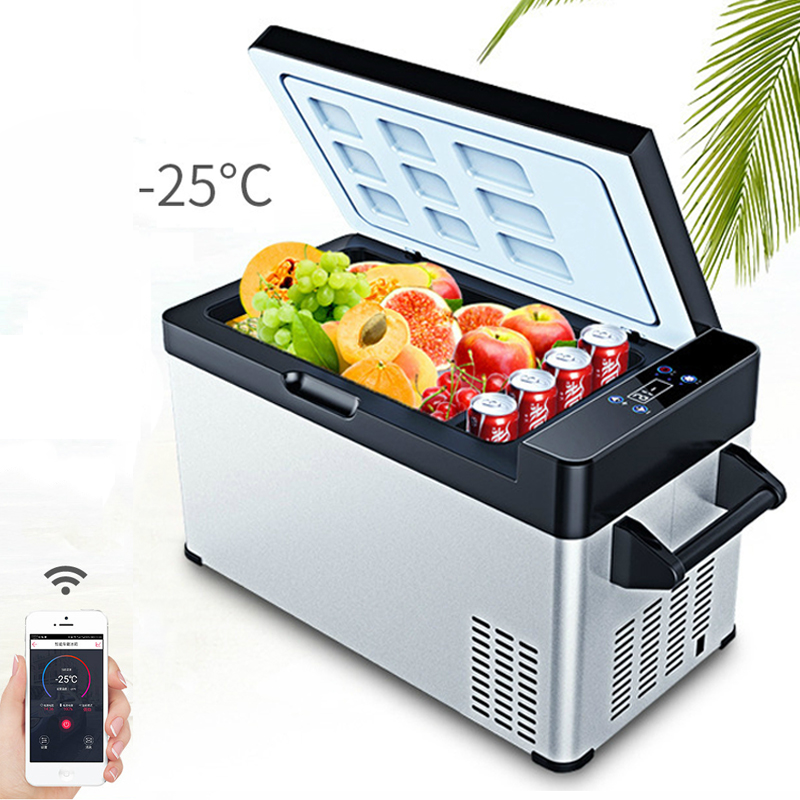 -25C 49L Portable Mini Fridge APP Control Compressor Car Refrigerator Truck Home Dual-use Dc 12v Refrigeration Small Cooler Box