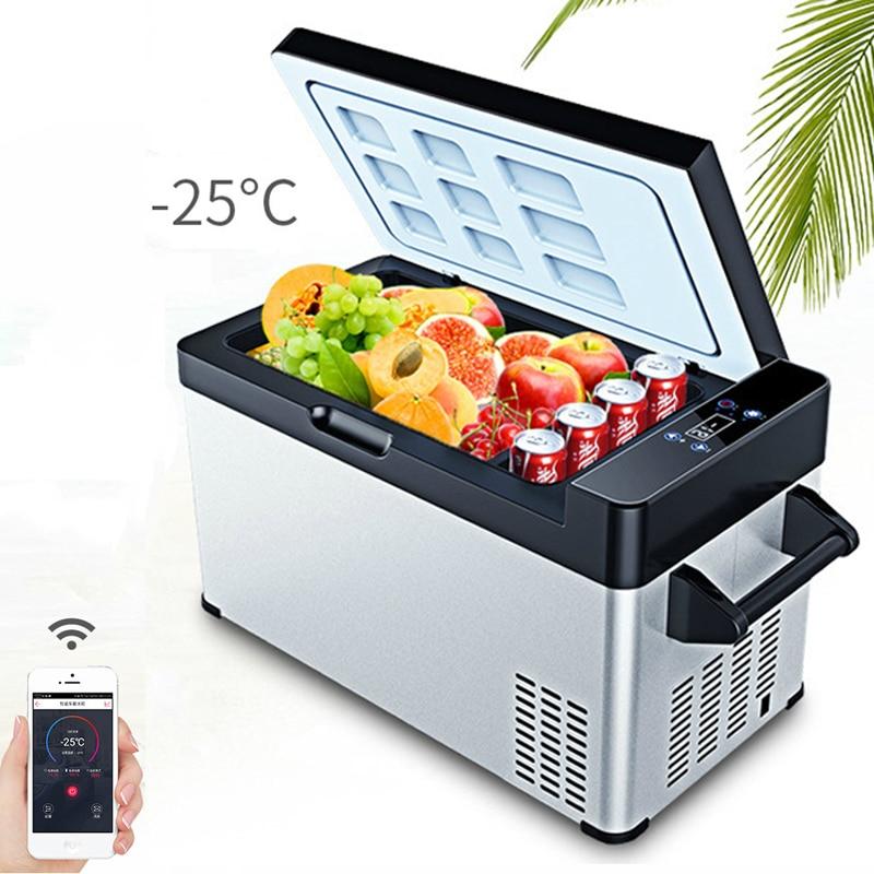 -25C 49L Portable Mini Fridge APP Control Compressor Car Refrigerator Truck Home Dual-use Dc 12v Refrigeration Small Cooler Box