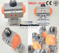 free shipping High quality DN32 11/4 3 pieces Stainless steel 304 double acting air actuated pneumatic ball valve actuator