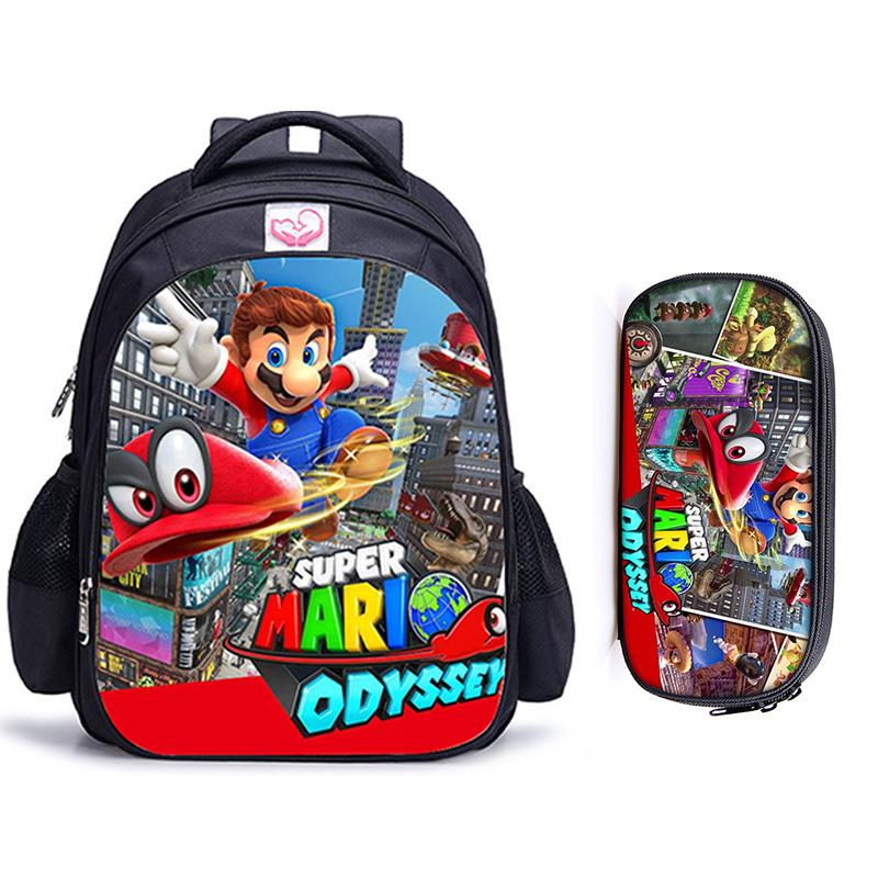 16 Inch Mario Bros Sonic Children School Bags Orthopedic Backpack Kids School Boys  Girls Mochila Infantil Catoon Bags