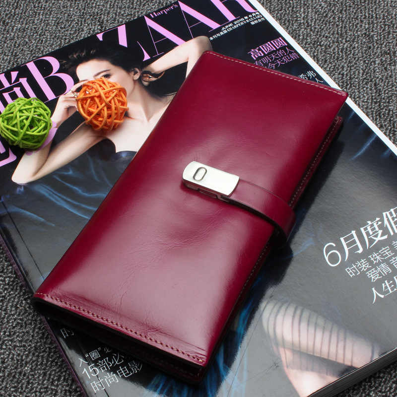 Cera de óleo do vintage genuíno couro feminino carteira longo moeda bolso bolsa telefone titular do cartão feminino pures lady embreagem