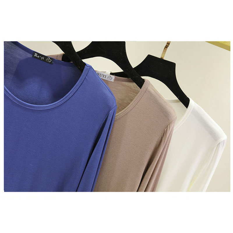 womens top Long sleeve O neck t shirt all match t shirt women bts Solid color in T Shirts from Women 39 s Clothing