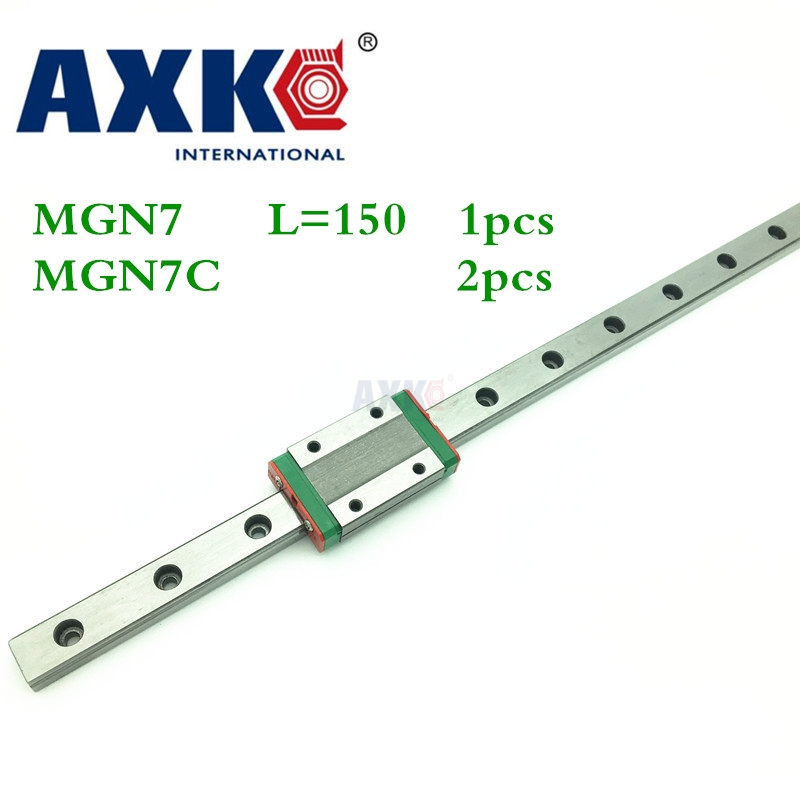 2018 New Linear Rail Cnc Router Parts Axk 1pc 7mm Width Linear Guide Rail 150mm Mgn7 + 2pc Mgn Mgn7c Blocks Carriage For Cnc 3d print parts cnc mgn7c mgn12c mgn15c mgn9c mini linear rail guide 1pc mgn linear rail guide 1pc mgn slider