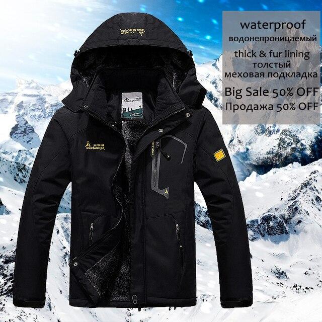 YIHUAHOO Winter Jacket Men 5XL 6XL Thick Warm Parka Coat Waterproof Mountain Jacket Pockets Hooded Fleece Windbreaker Jacket Men