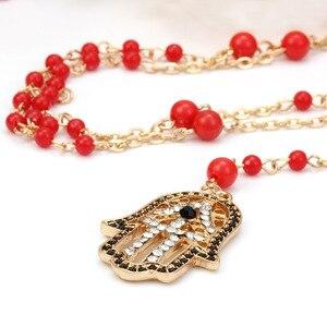 Женское ожерелье с цепочкой Lucky Evil Eye, черный и красный свитер с бисером