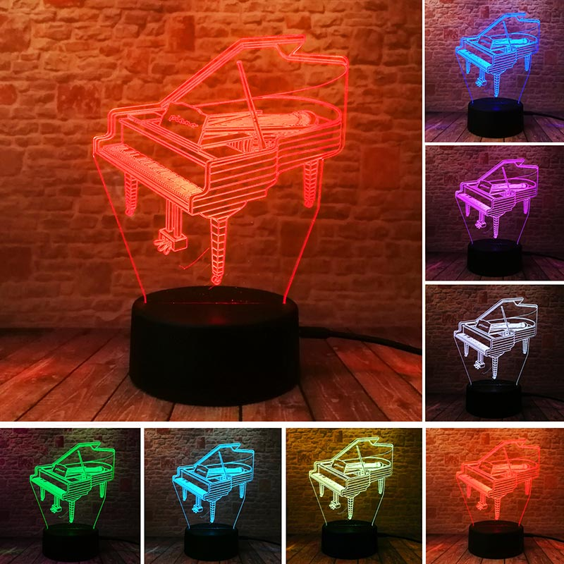 Model Piano Toys 3D Illusion Lamp LED Colourful Touch Light Flishing Nightlight Home Dec ...