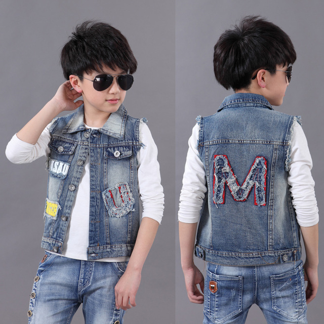 97076cc23245 2018 Spring Summer Boys Fashion Splicing Denim Vest Coat Children ...