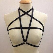 Hot sale Black pentagram elastic women chest strap frame bra body harness pastel goth body harness lingerie top retail harness