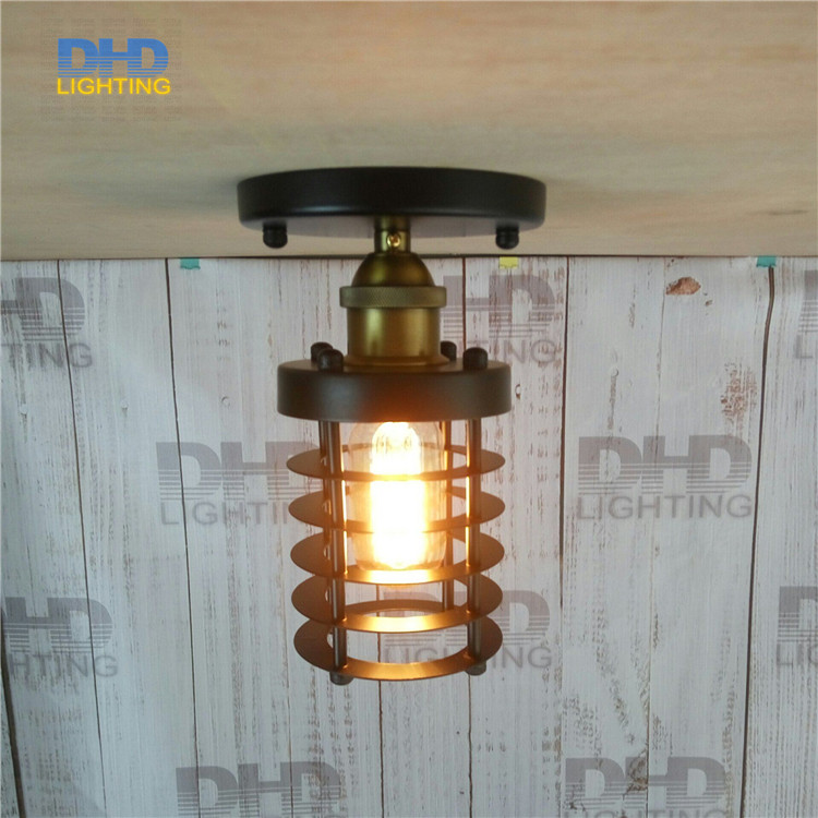 Free shipping Retro indoor lighting Vintage black iron Cylindrical cage shade hanging light fixture Edison filament pendant lamp romanson tl 9214 mj wh
