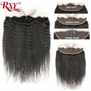 Image 2 - RXY mechones de cabello brasileño con mechones de cabello humano recto y rizado Frontal con 3 mechones de cierre con pelo Remy Frontal de encaje