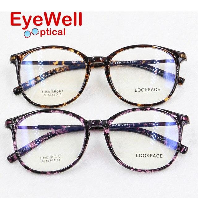 Новый TR90 леопард круглый оптических кадров стильные очки для женщин очки по рецепту 9913